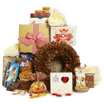 "Christmas gift ideas for men and women: ""Naughty or Nice"" Christmas hamper featuring an array of sweet treats available from Hampers With Bite"