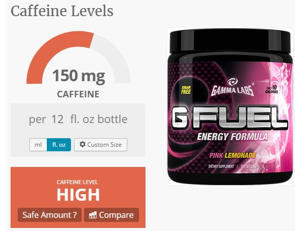 gfuel caffeine content