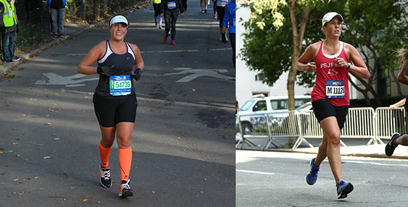 Running for Weight Loss: Runner Jen Miller racing in marathon, crossing the finish line 25 pounds lighter after weeks of training.