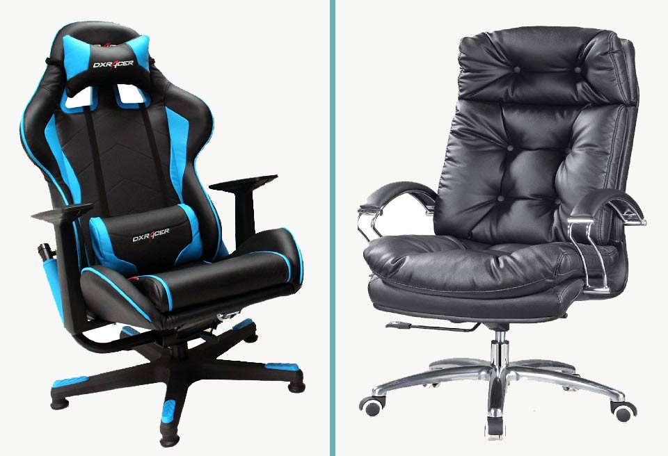 Racing style chair next to office style chair