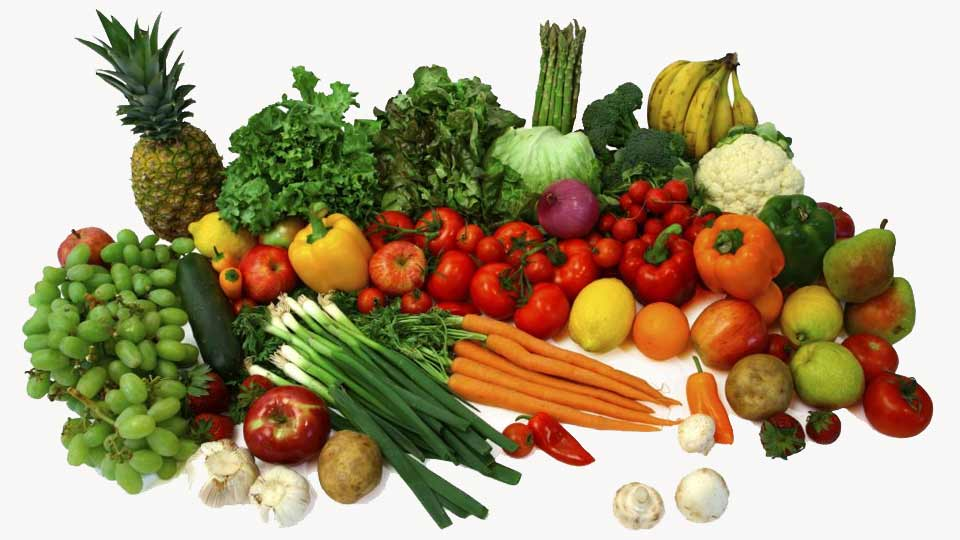Fruit and vegetables filled with vitamins and supplements