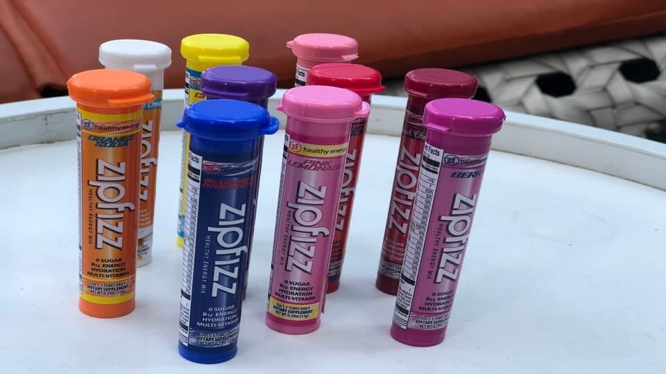 A mix of Zipfizz energy drink flavors
