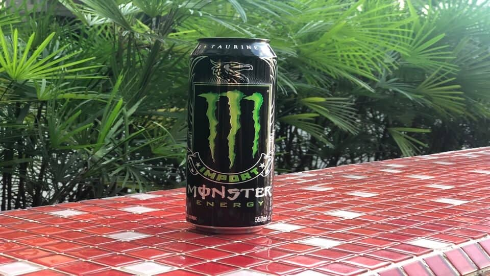 A can of Monster Import energy drink.