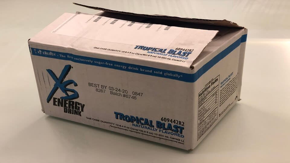 The box that 12 XS energy drinks arrive in.