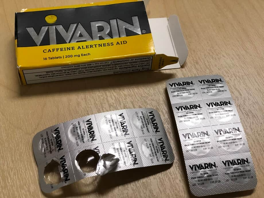 Each Vivarin caffeine pill has 200mg of caffeine inside.