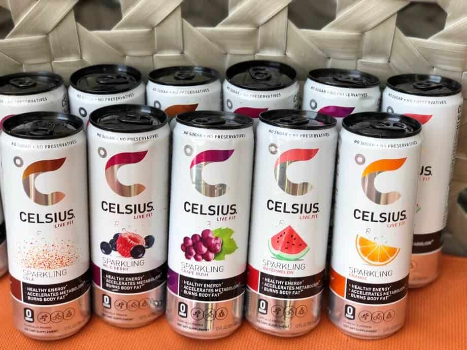 A selection of Celsius drink flavors.
