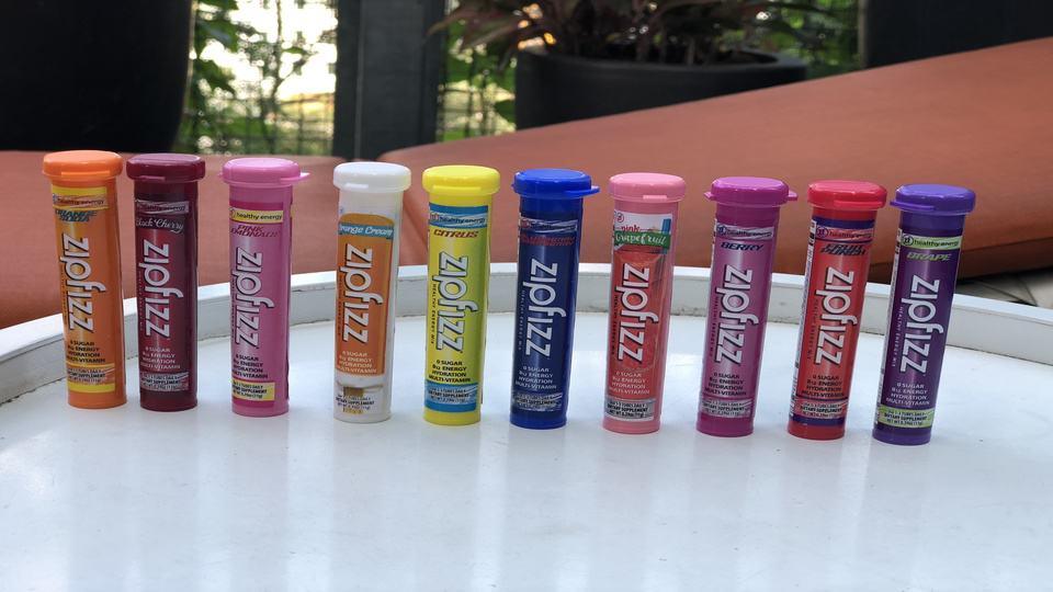 10 of the 11 Zipfizz energy drinks flavors.