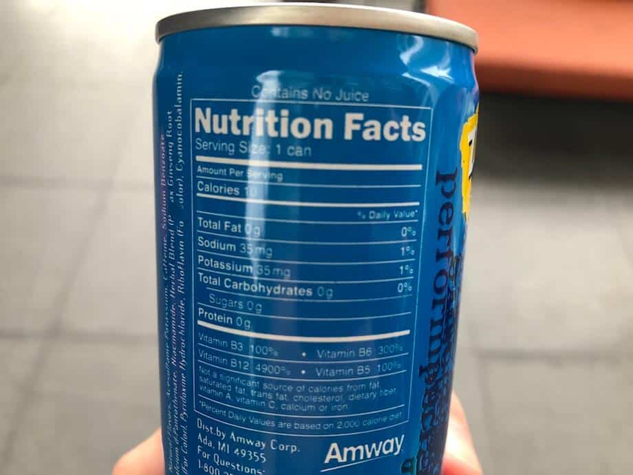 An XS energy drink contains 0g sugar and carbohydrates