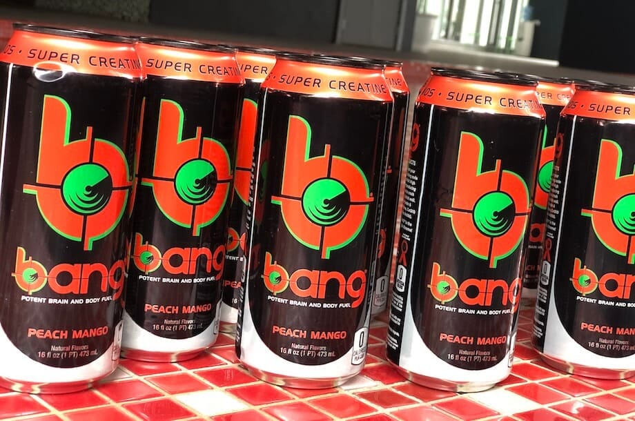 Rows of Bang energy drinks