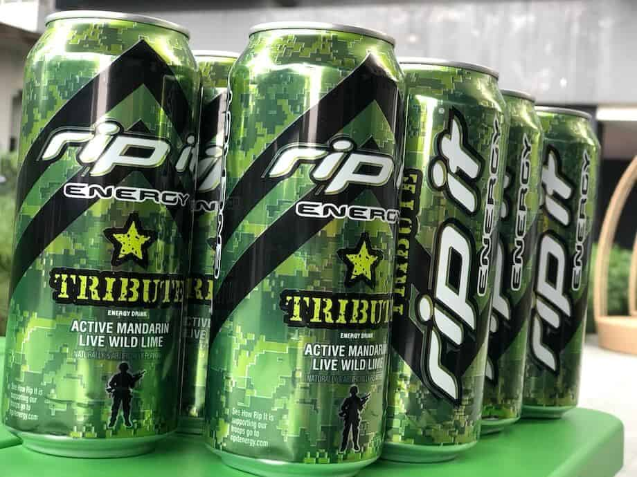 Several Rip It cans with green camouflage detailing