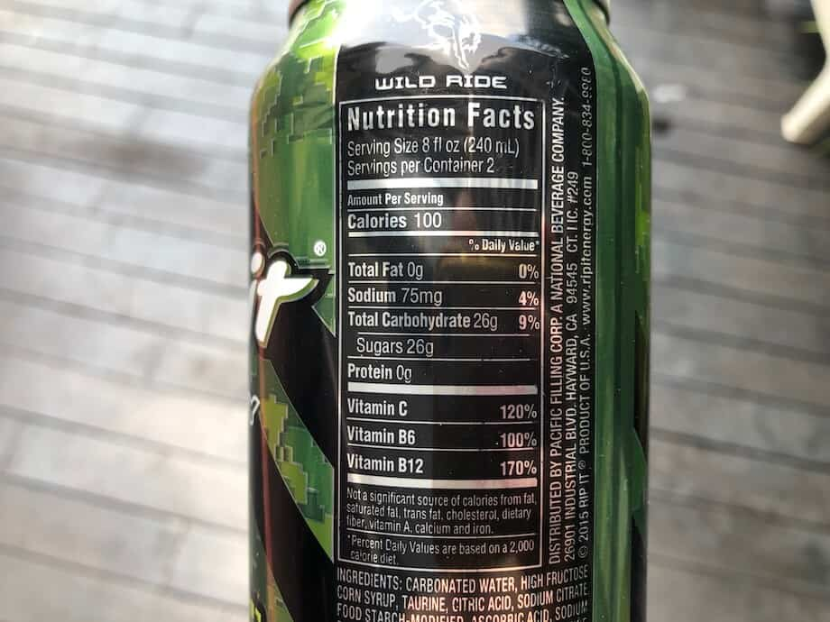 The nutritional facts on the back of a can of Rip It
