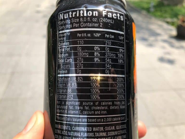 Nutrition facts for Monster energy drink