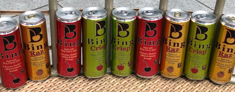 Bing energy drinks in a line