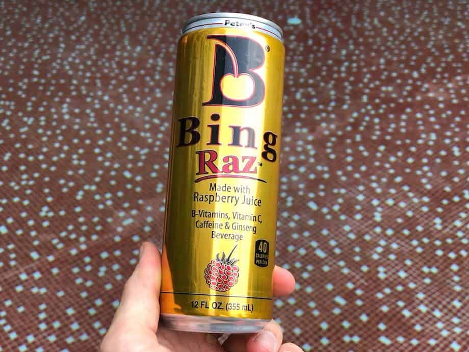 A golden colored can of Bing Raz energy drink