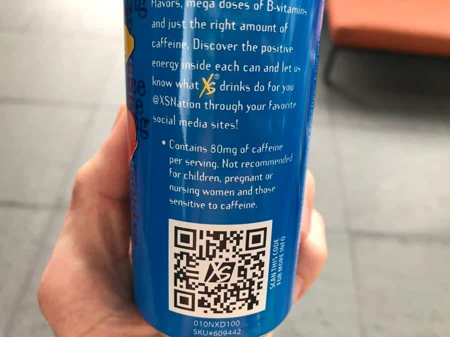 XS energy drink has 80mg of caffeine in each can.