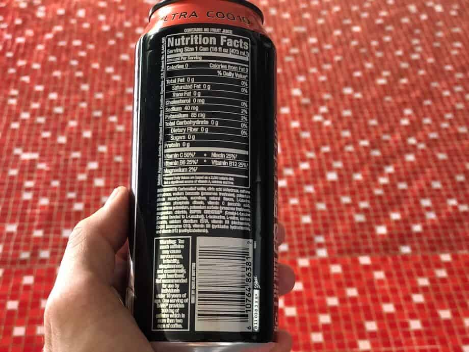Nutritional facts of Bang energy drink on the back of the can