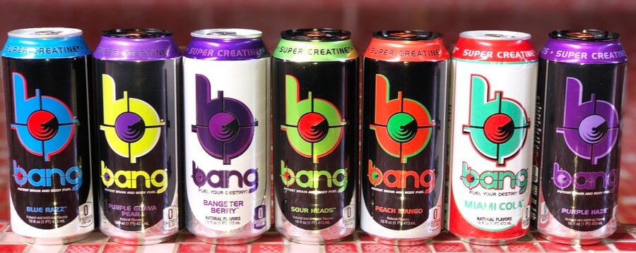 A variety of different flavors of Bang Energy Drink cans