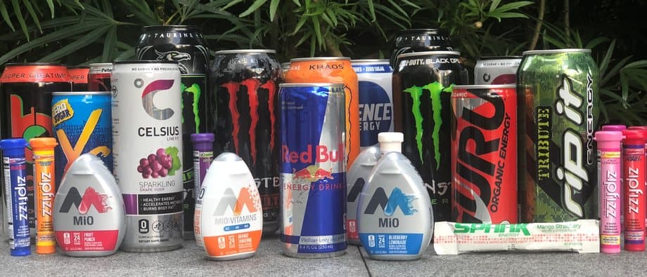 Row of energy drinks caffeine overdose
