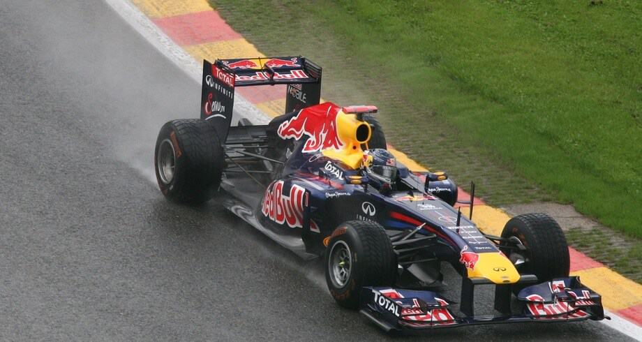 Red Bull Racing F1 car dashing through the tracks