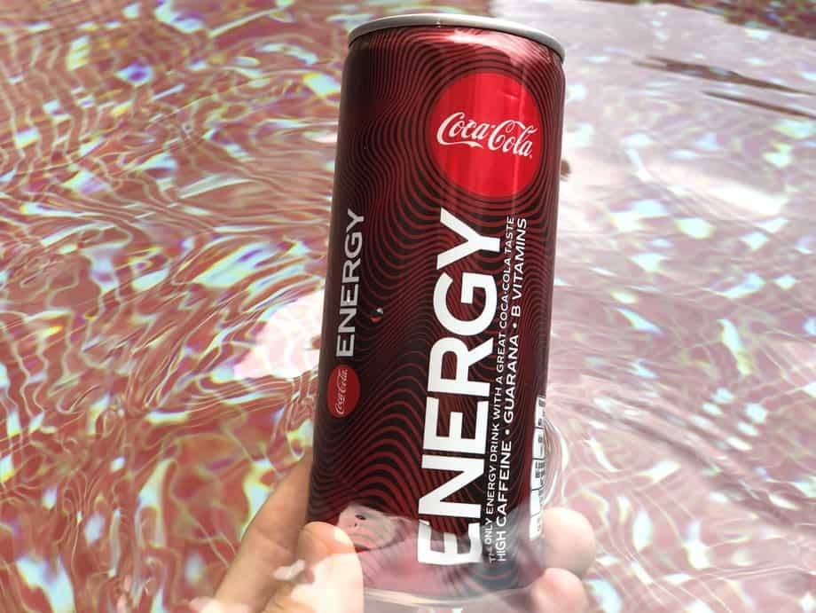 Coca-cola energy can in water