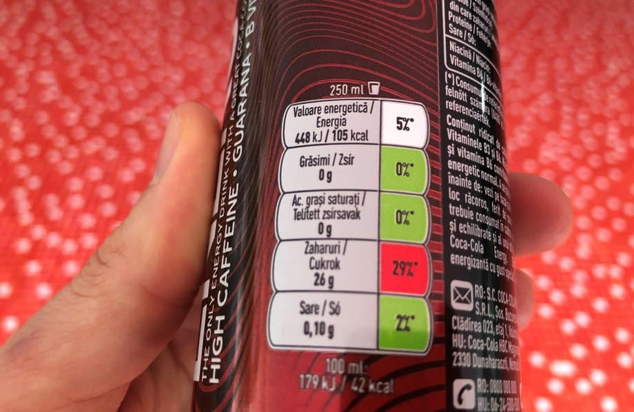 Coca-cola energy sugar content