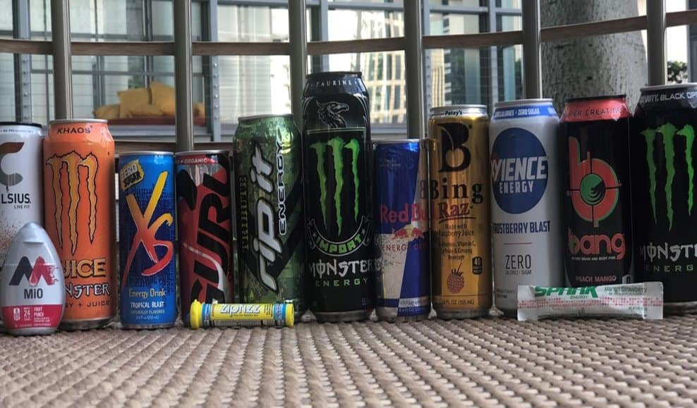 The best energy drinks for daily use all line up together in a row