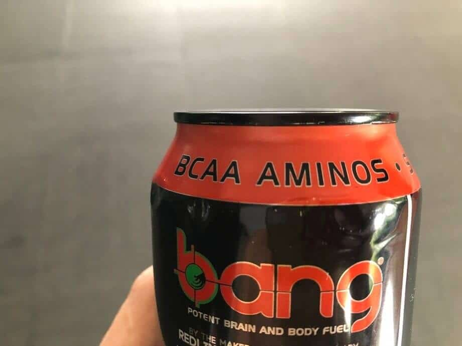 "a can of Bang's energy drink with the label ""BCAA Aminos"""