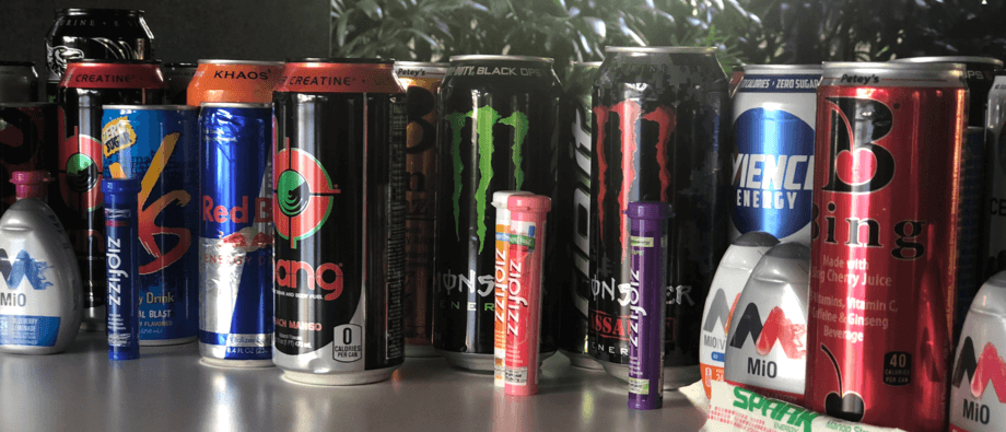 Various brands of energy drinks