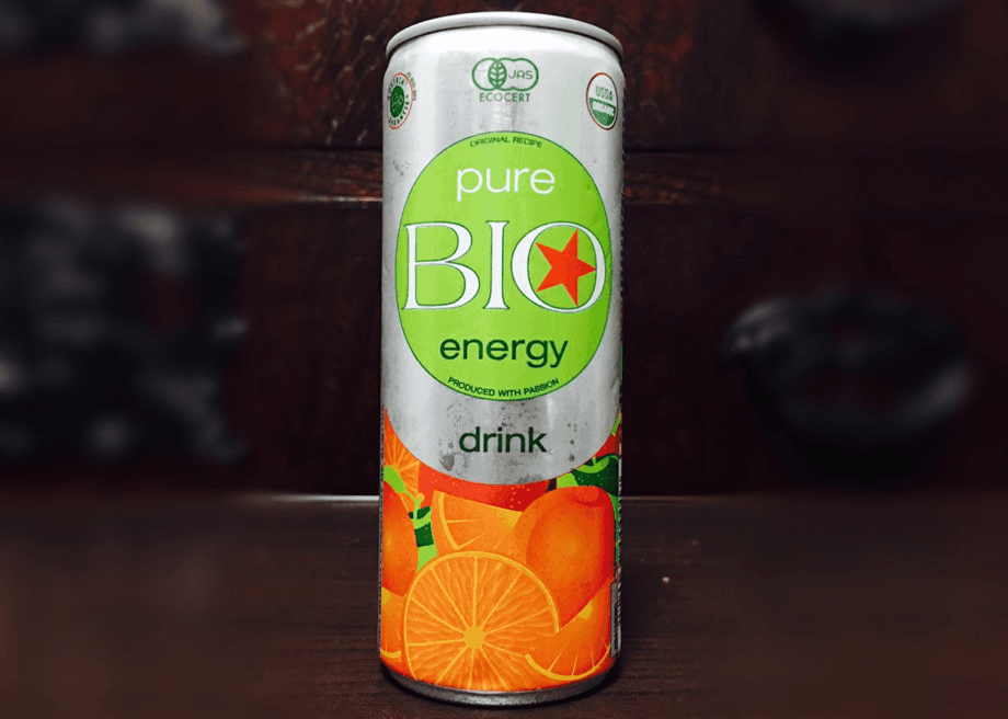A can of Pure Bio Energy Drinks