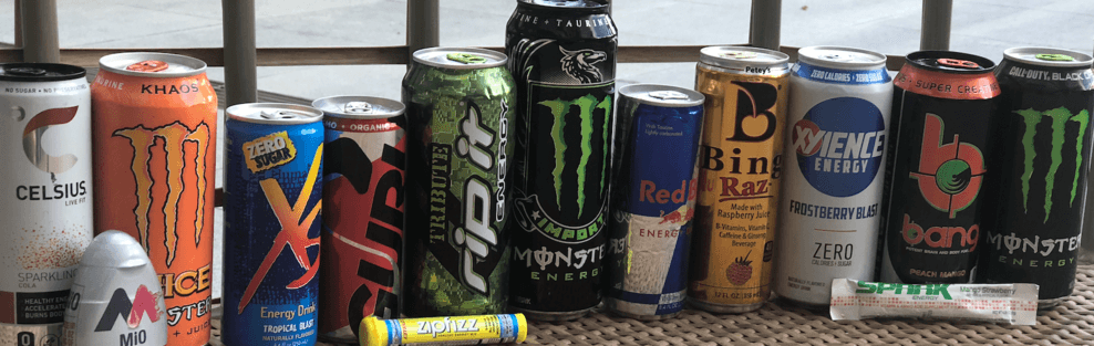 Various cans of energy drinks