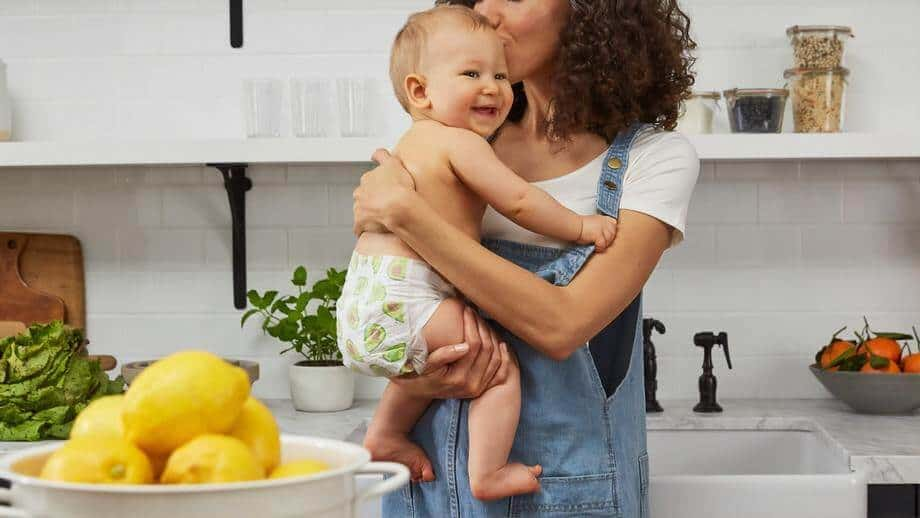 mom and baby in kitchen