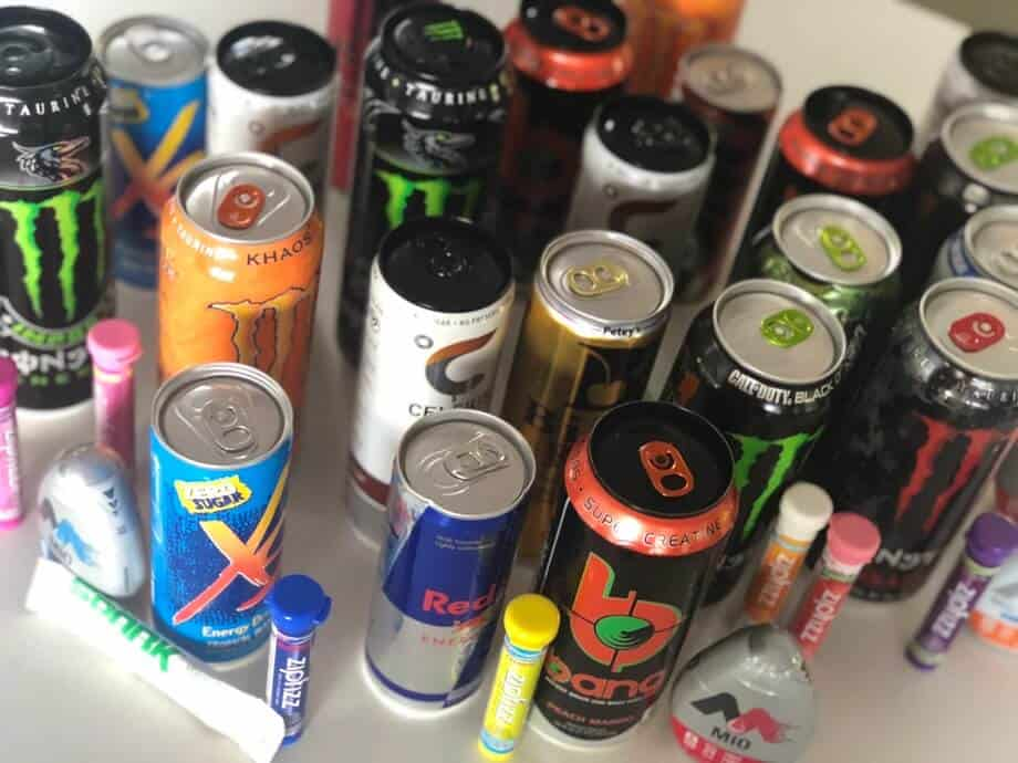 a whole range of energy drinks