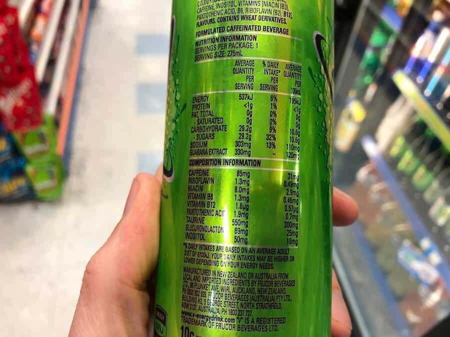 V Energy Drink nutrition information on the back of a can.