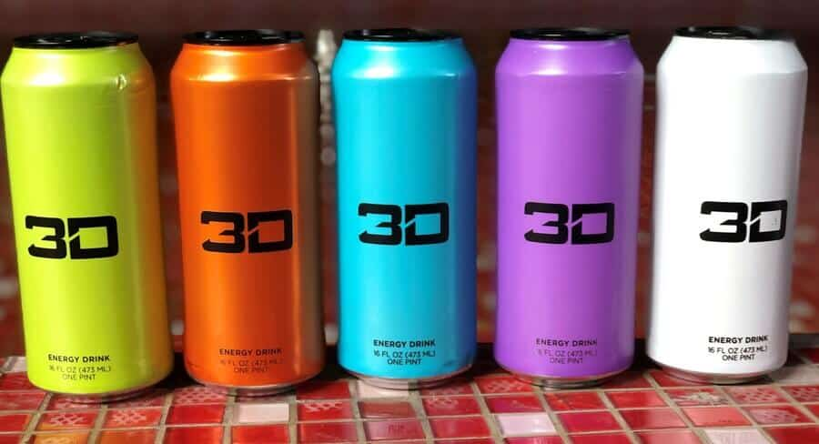 Cans of 3D Energy Drink in different flavors