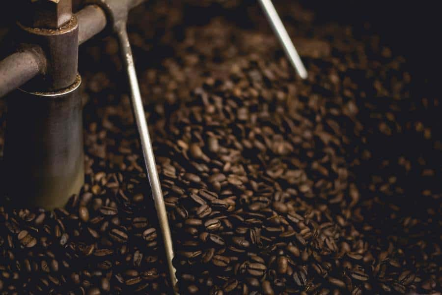 Coffee beans in a mixer