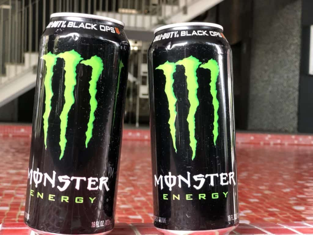 Two cans of Monster energy drink 16fl.oz