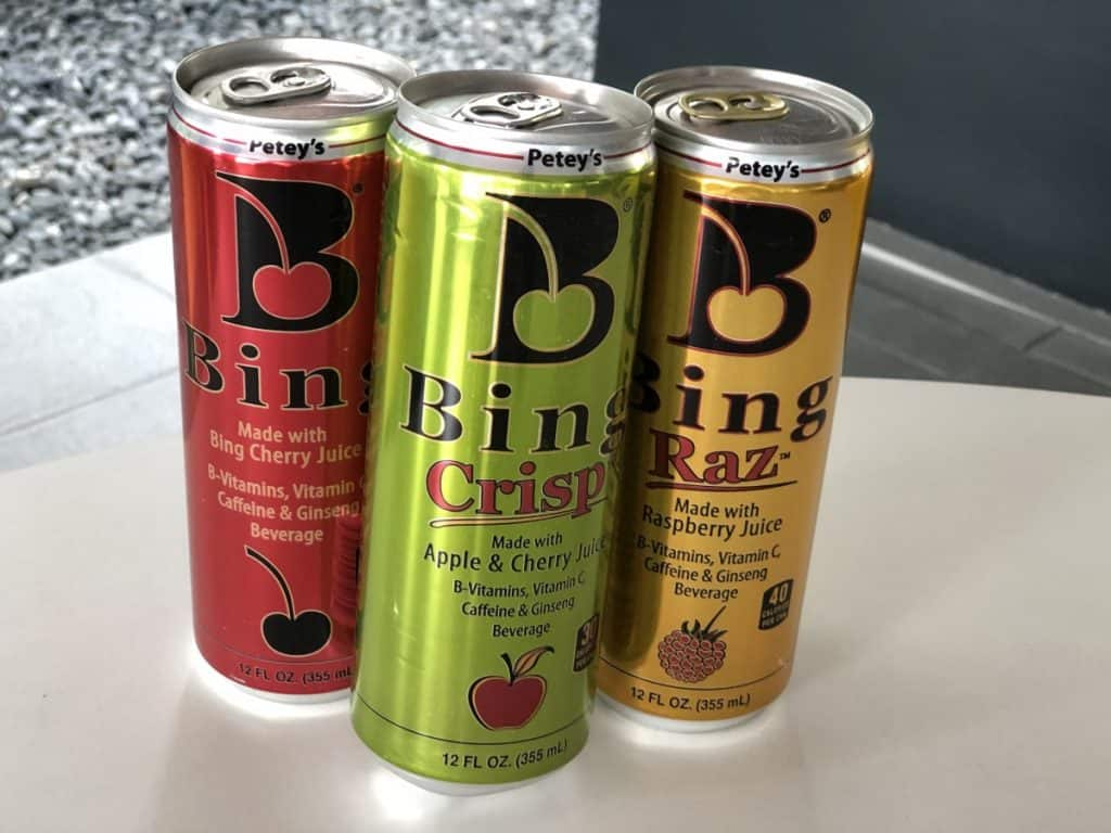 A picture of Bing energy drink. 3 flavors.