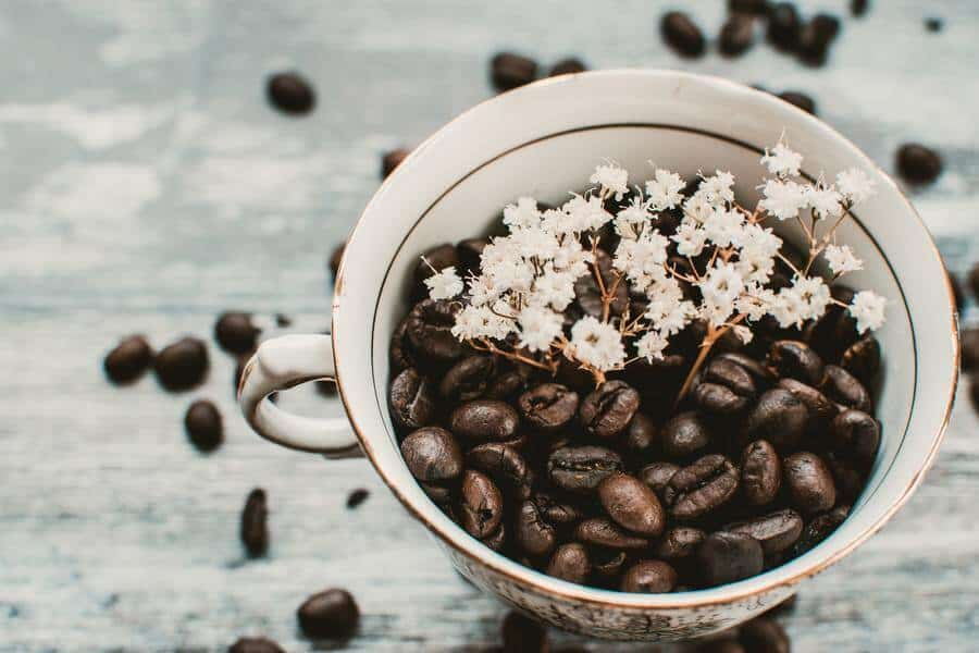 A cup of coffee bean with some dainty white flowers