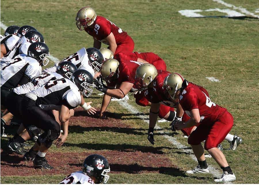 Football players during a game