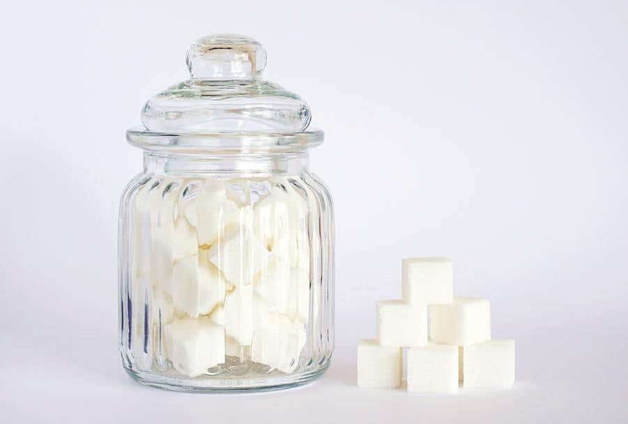 A jar of sugar cube