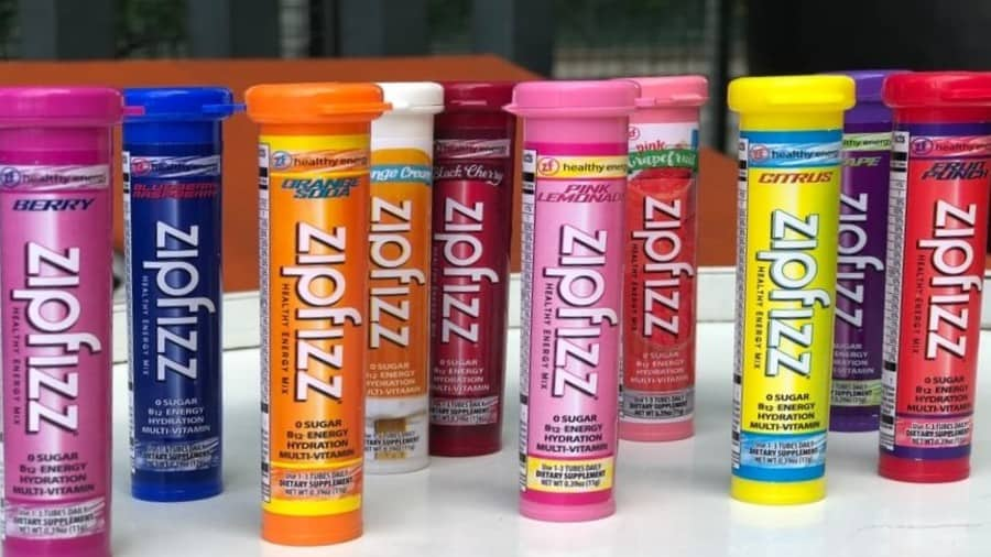 A line of Zipfizz shots on a table
