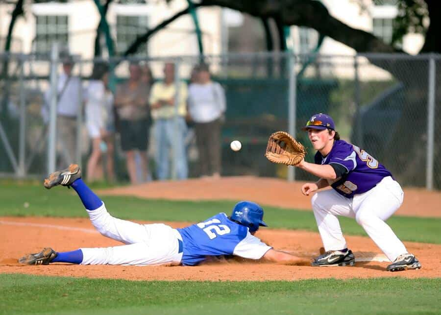 Baseball players during a game