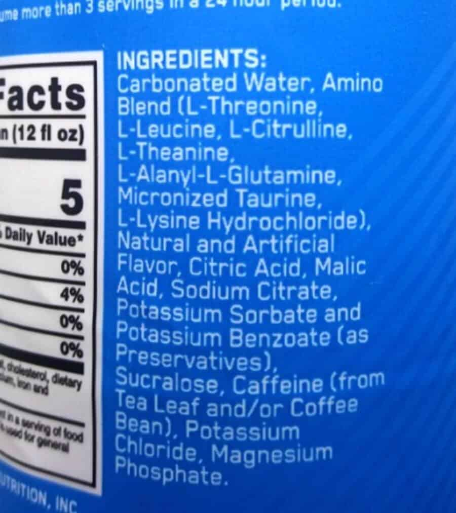 Ingredient label of Amino Energy drink