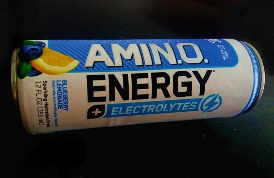 A can of Blueberry Lemonade flavored Amino Energy drink.