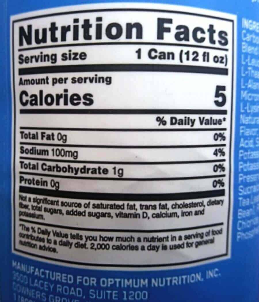 Nutrition label of Amino Energy drink.