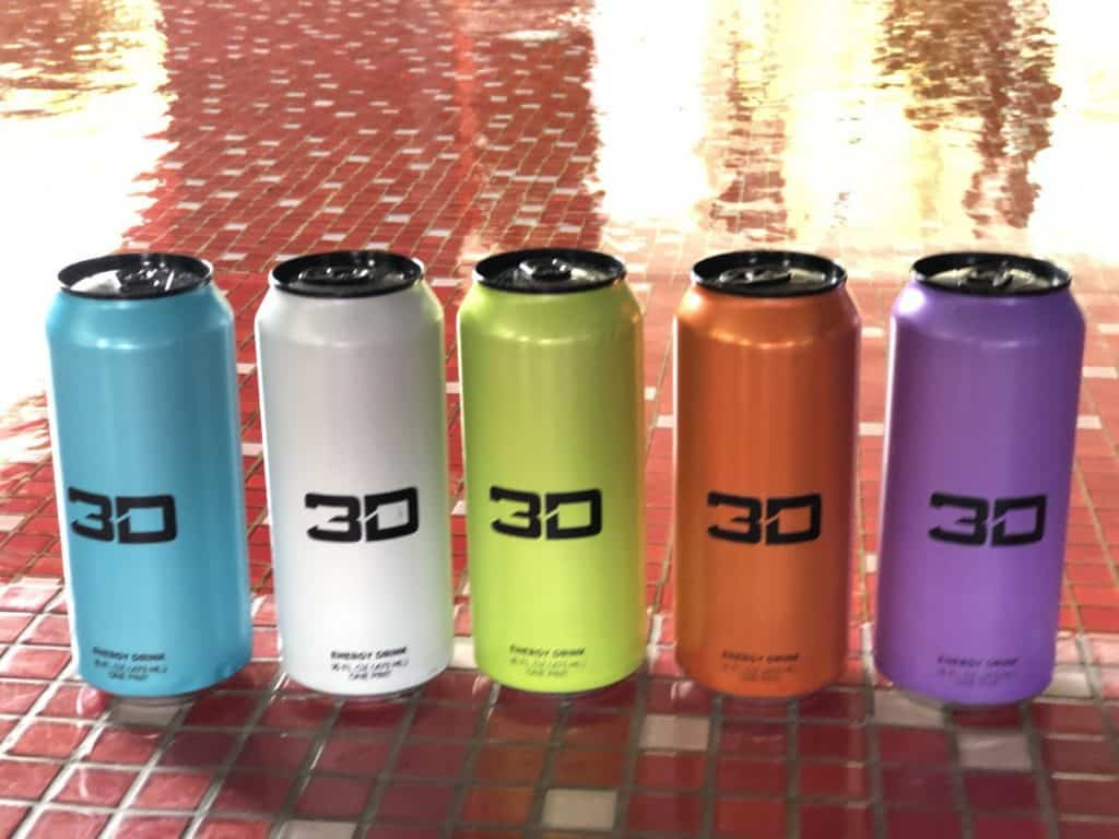 A can of 5 different flavors of 3D energy drink.