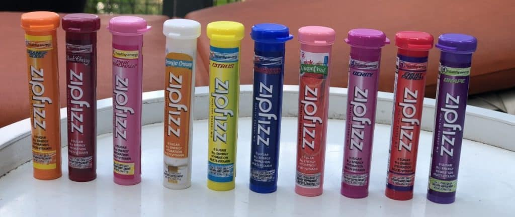 A picture of 10 of the 11 flavors of Zipfizz.