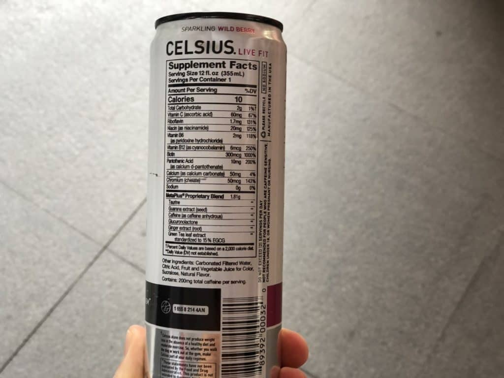 The ingredients list as seen on a can of Celsius energy drink.