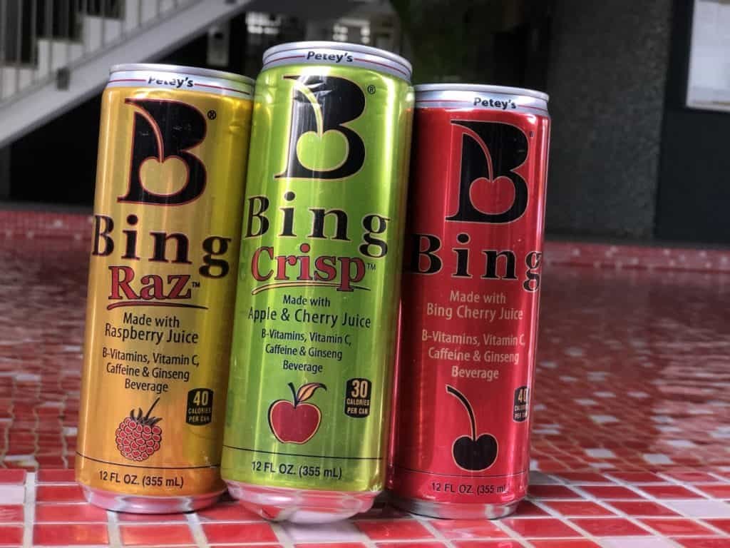 3 cans of Bing Energy Drink.