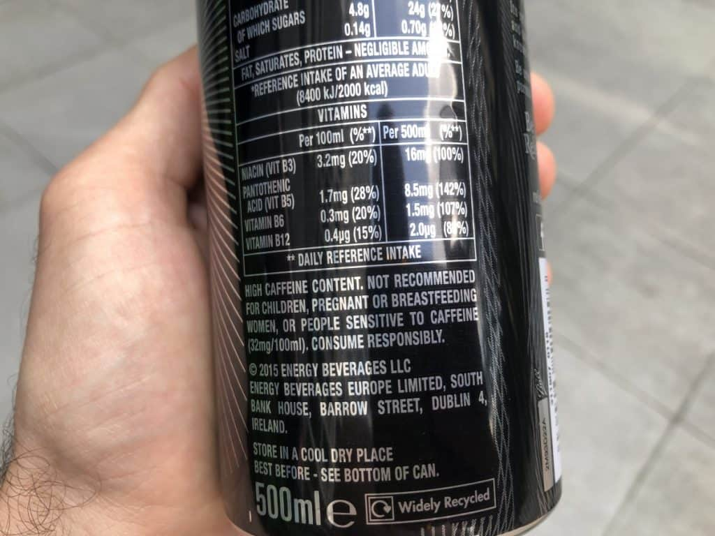 A close-up of a can of Relentless showing its ingredients and nutrition information.